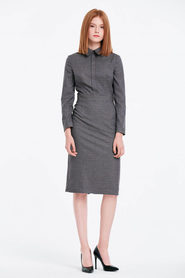 Grey shirt dress with a houndstooth print photo 4 - MustHave online store