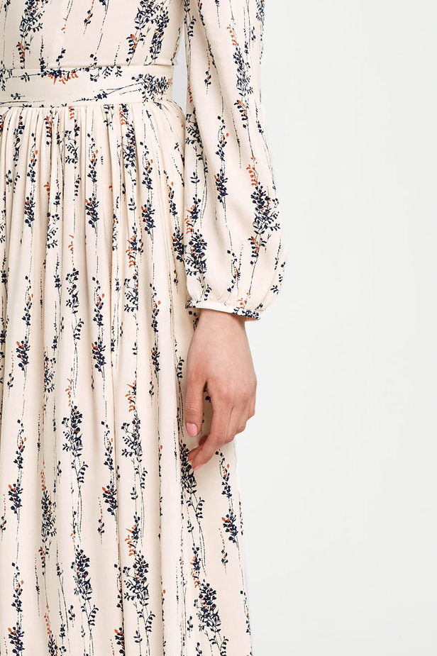 Maxi beige dress, floral print photo 3 - MustHave online store