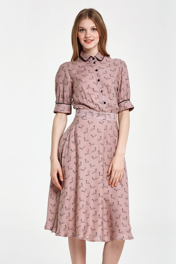 Midi beige shirt dress, сranes print photo 1 - MustHave online store
