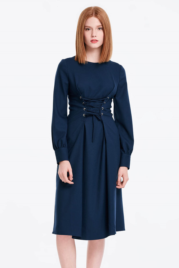 Laced dark blue dress photo 1 - MustHave online store