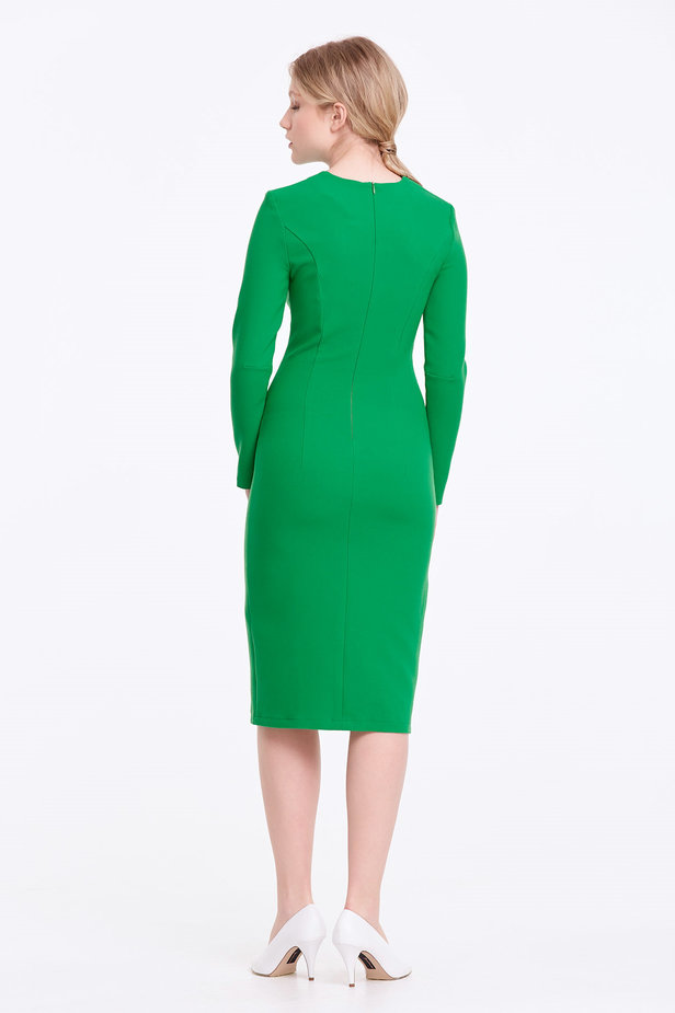 Column green dress with a slit photo 5 - MustHave online store