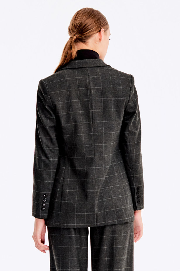 Double-breasted grey checkered jacket photo 4 - MustHave online store