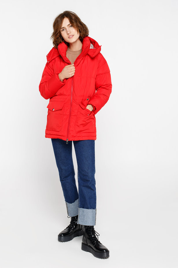 Red down jacket with a hood and pockets photo 4 - MustHave online store