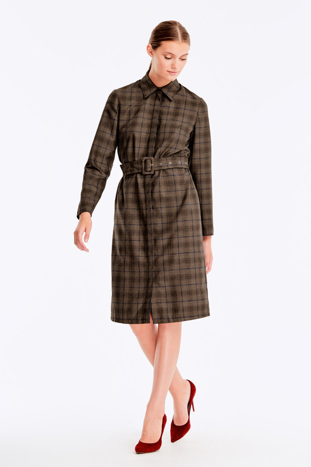 Brown dress with dark-blue check print photo 5 - MustHave online store