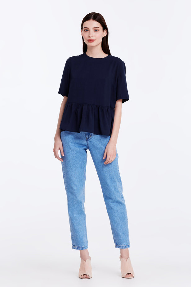 Dark-blue top with a flounce photo 2 - MustHave online store
