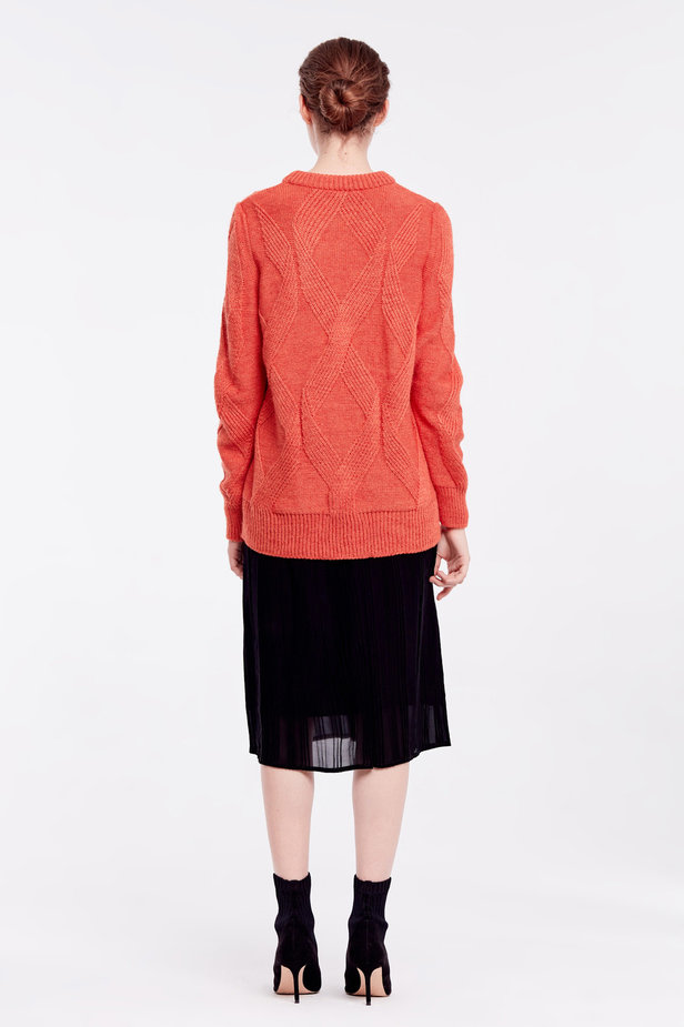 Orange free knit sweater photo 5 - MustHave online store