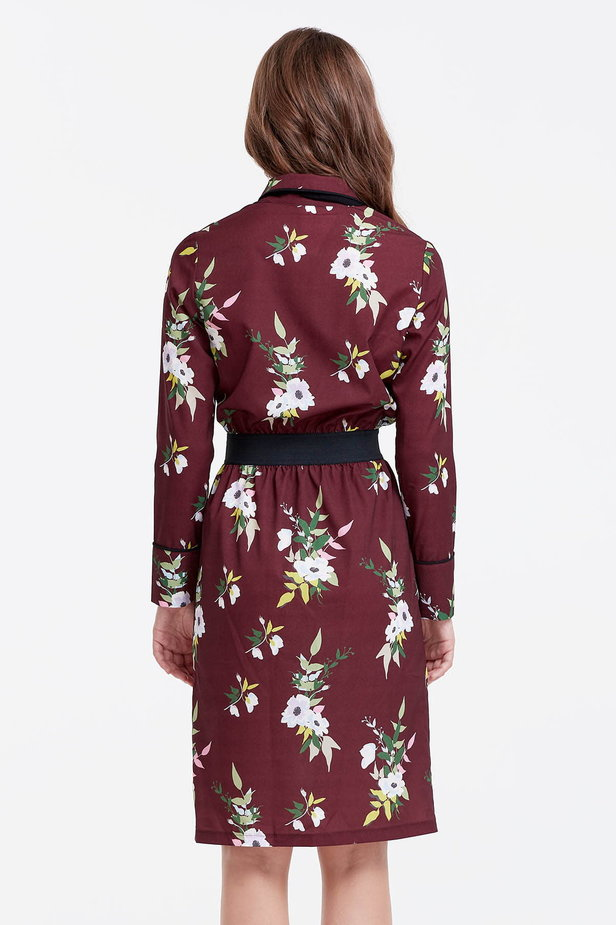 Brown dress with a floral print and a black bow photo 4 - MustHave online store