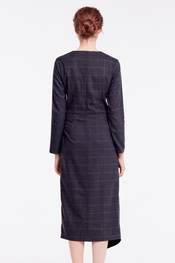 Wrap grey checkered midi dress photo 5 - MustHave online store