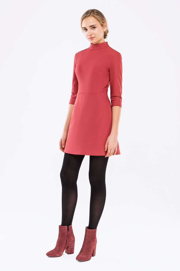 Pink A-line dress with a stand up collar photo 3 - MustHave online store