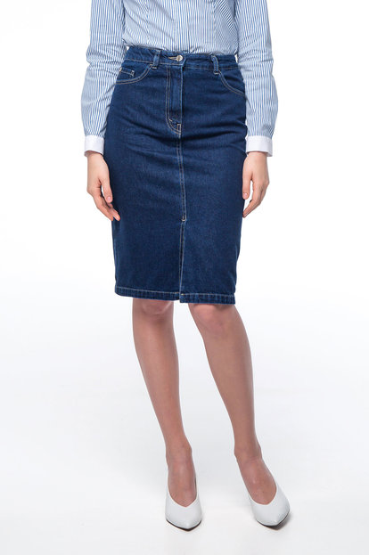 Denim skirt with a front cut