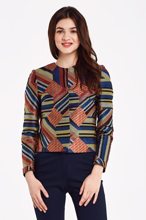 Short multicolored jacket with lurex