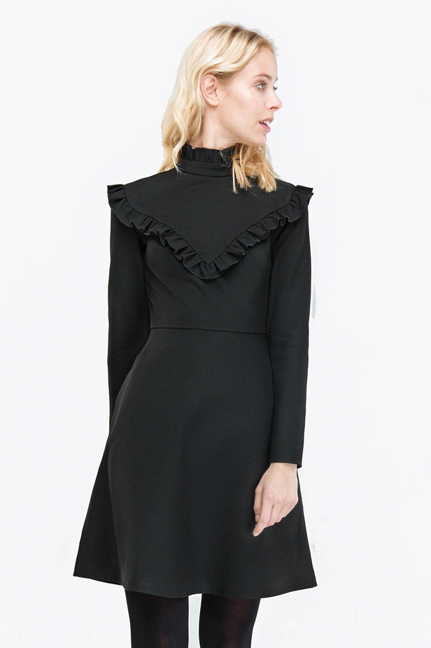 Black A-line dress with ruffles above the knee photo 1 - MustHave online store