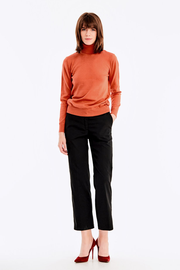 Terra-cotta knit polo neck photo 2 - MustHave online store