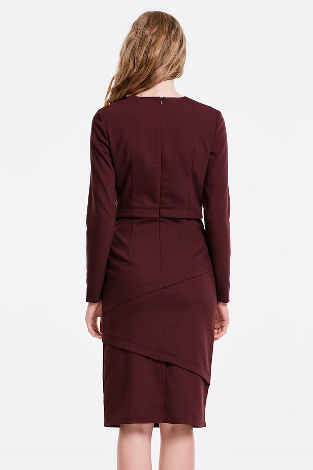 Burgundy dress with stripes photo 2 - MustHave online store