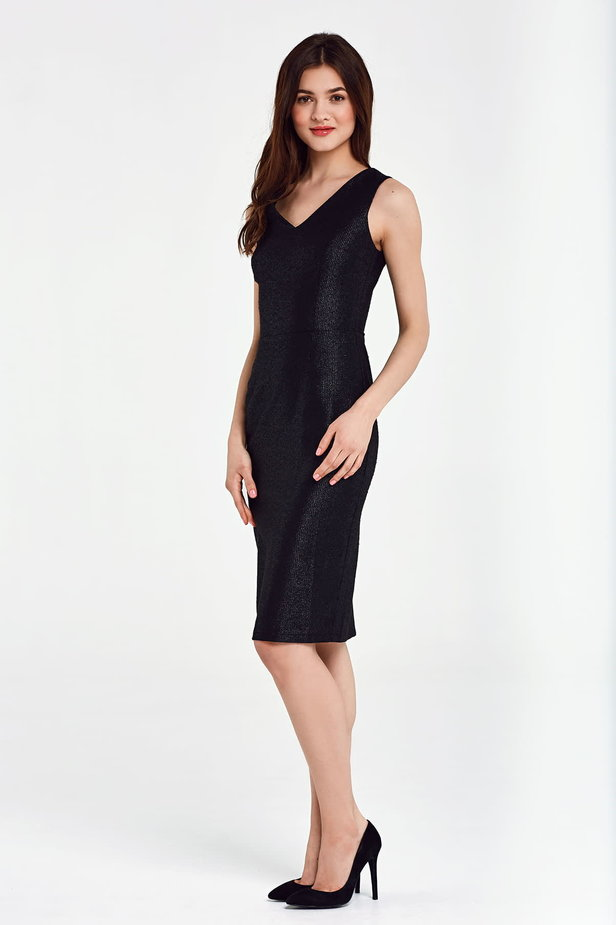 Black dress with lurex above the knee photo 3 - MustHave online store