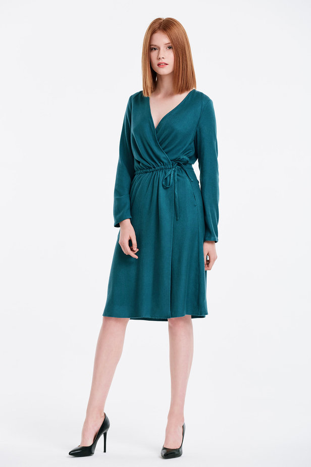 Wrap marine green dress photo 4 - MustHave online store
