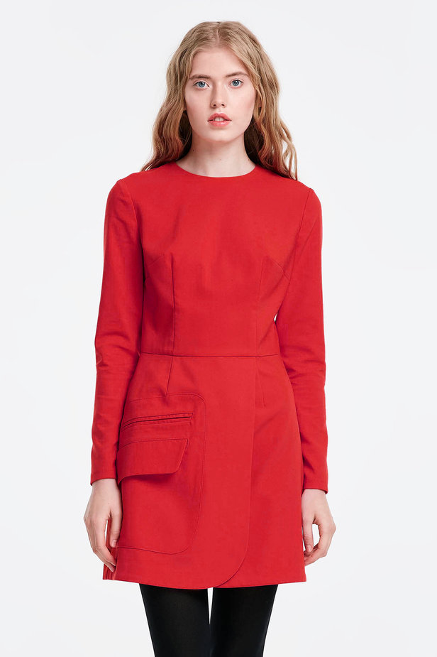 Wrap red dress with a pocket photo 1 - MustHave online store