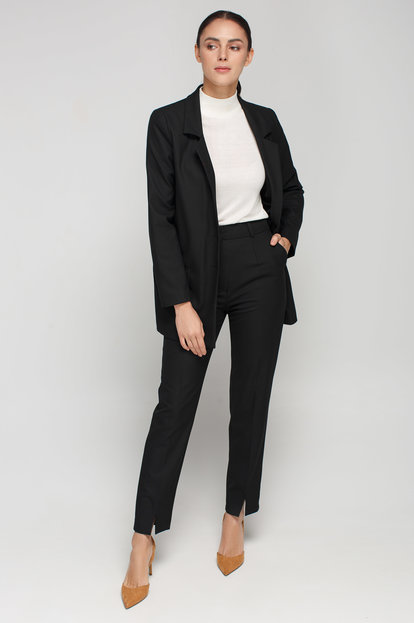 Black straight pants with front slits