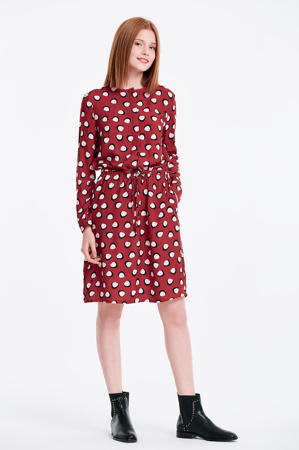 Red dress with ties, penguins print photo 5 - MustHave online store