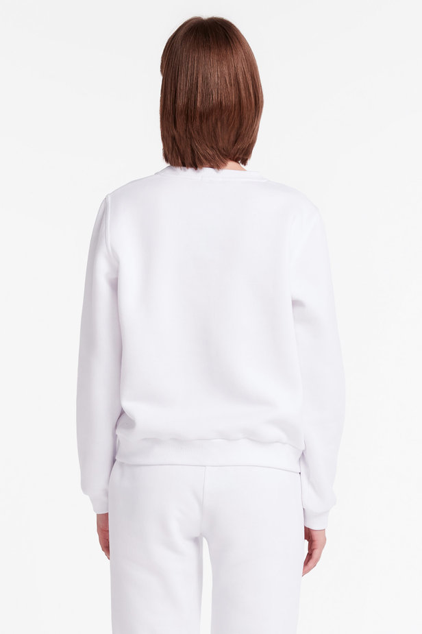 White sweatshirt with print and cuffs photo 5 - MustHave online store