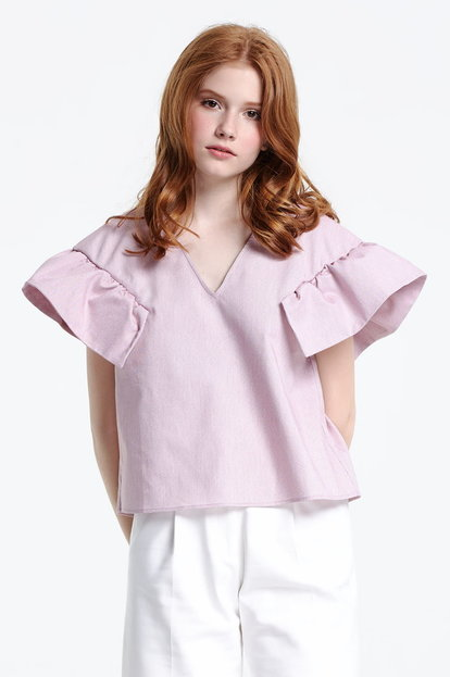 Swing checked top with flounced sleeves