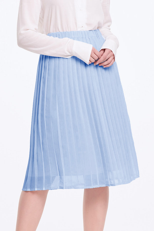 Below the knee pleated sky-blue skirt photo 1 - MustHave online store