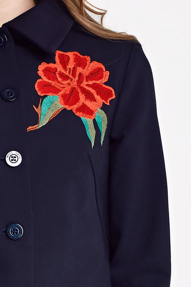 Dark blue jacket with a flounce and embroidery photo 2 - MustHave online store
