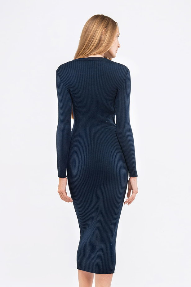 Blue knit sheath midi dress photo 2 - MustHave online store