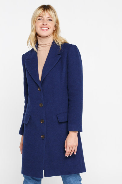 Blue wool coat above knee with horn buttons