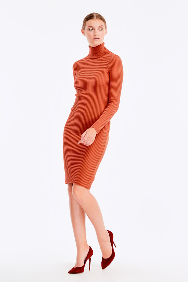 Terra-cotta knit dress photo 3 - MustHave online store