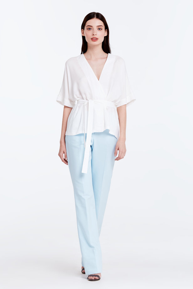 Wrap white shirt with a belt photo 2 - MustHave online store