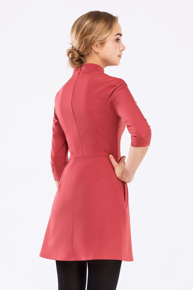 Pink A-line dress with a stand up collar photo 2 - MustHave online store