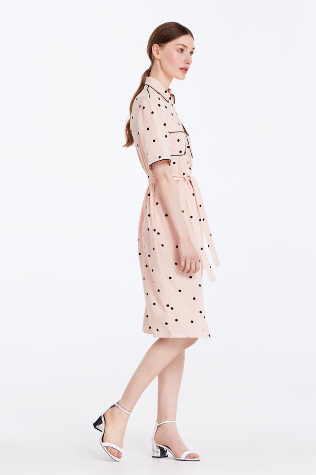 Beige dress with a black polka dot print and a black piping photo 5 - MustHave online store