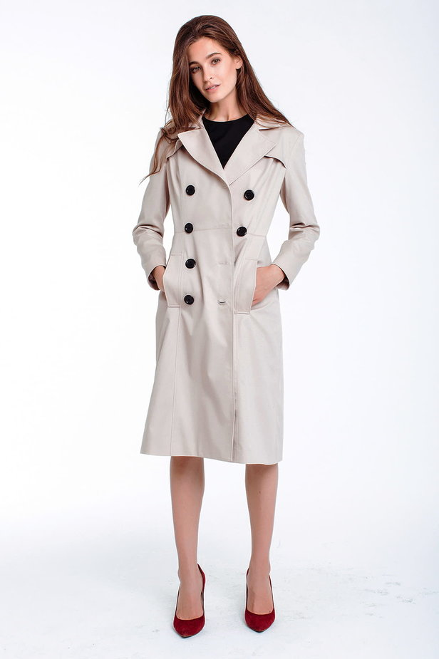 Double-breasted beige trenchcoat photo 4 - MustHave online store