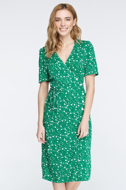 Green midi dress in floral print on the smell