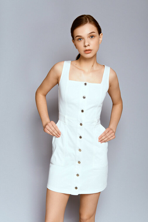 White denim sundress with buttons and thick straps