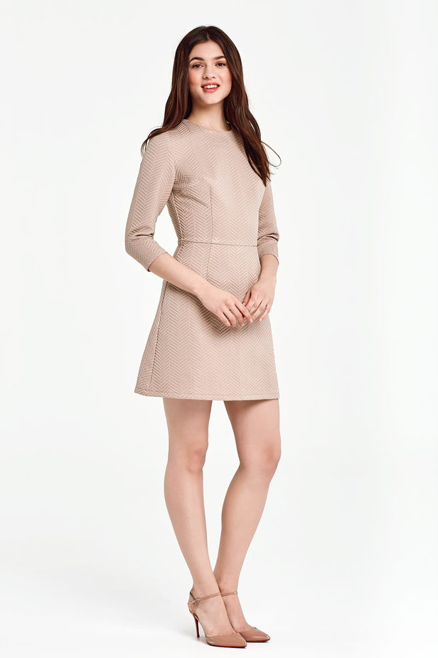 Above the knee A-line beige dress photo 5 - MustHave online store