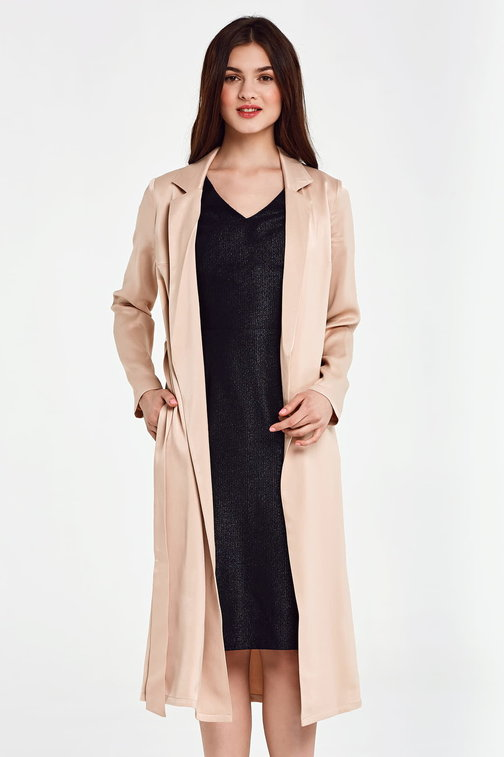 Below the knee wrap beige trenchcoat with a belt