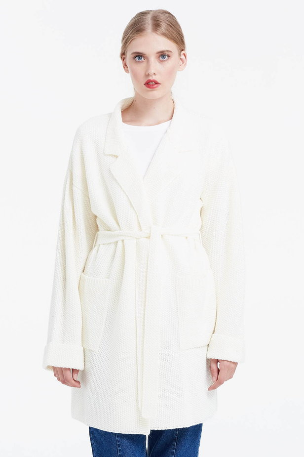 Milky cardigan with a belt photo 1 - MustHave online store