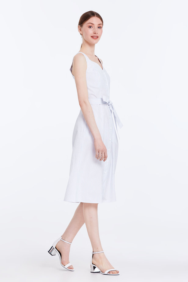 White sundress with blue stripes and a belt photo 4 - MustHave online store