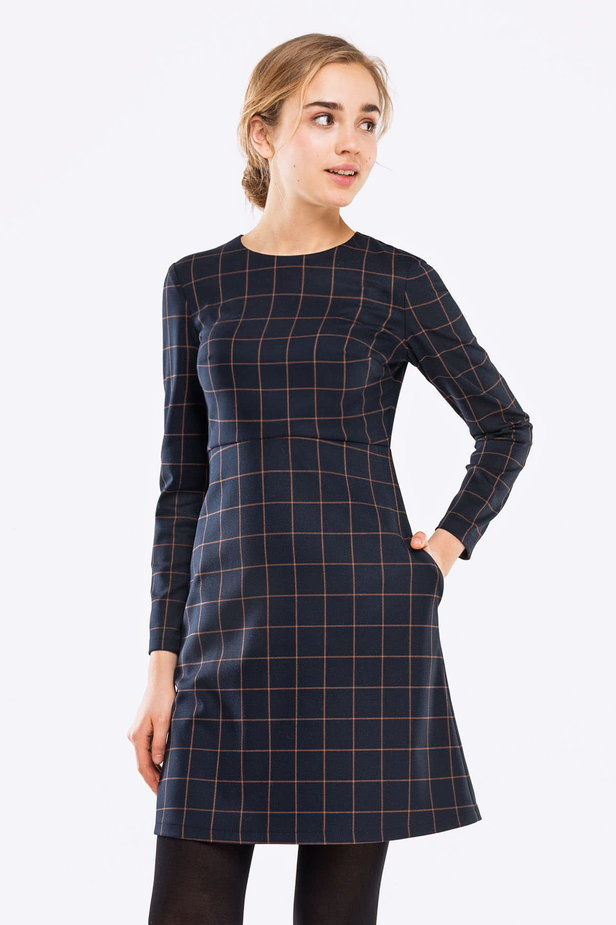 Blue A-line checked dress photo 1 - MustHave online store