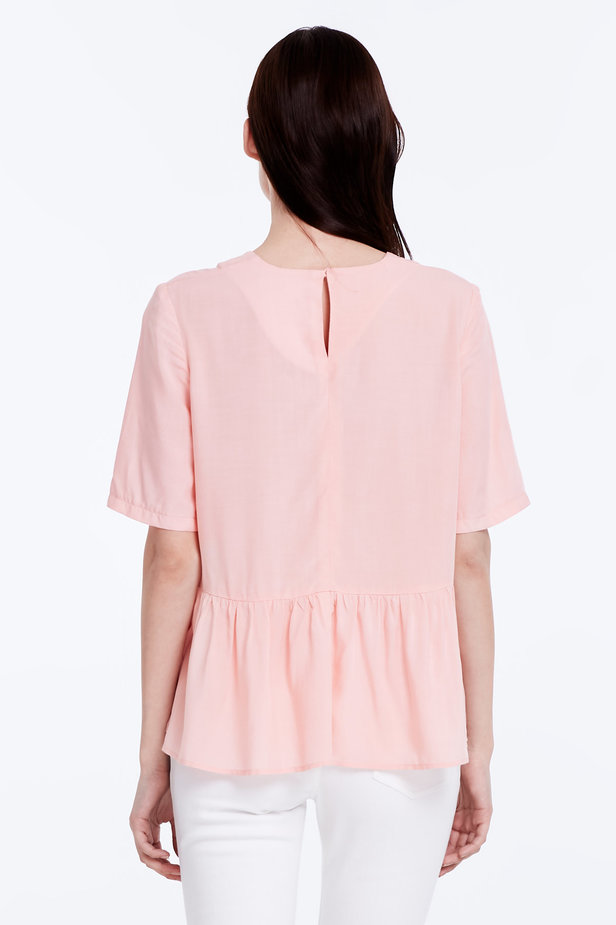 Powder pink top with a flounce photo 5 - MustHave online store