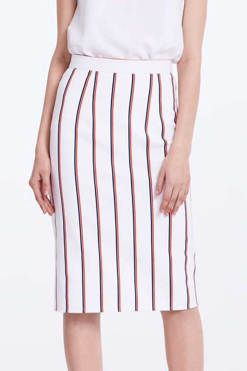 White pencil skirt with blue and red stripes