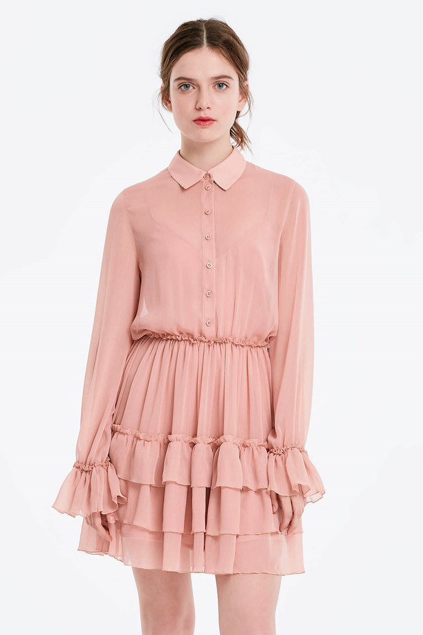 Powder pink dress with flounces photo 1 - MustHave online store