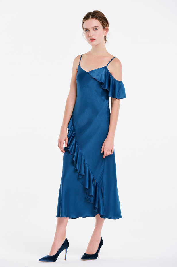 Blue sundress with flounces photo 4 - MustHave online store