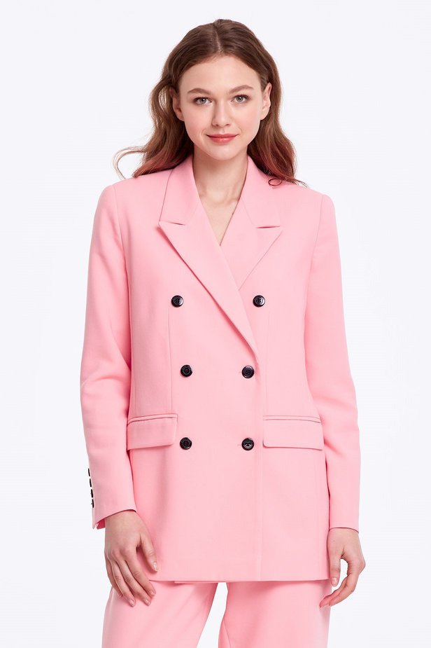Double-breasted pink jacket with pockets photo 1 - MustHave online store