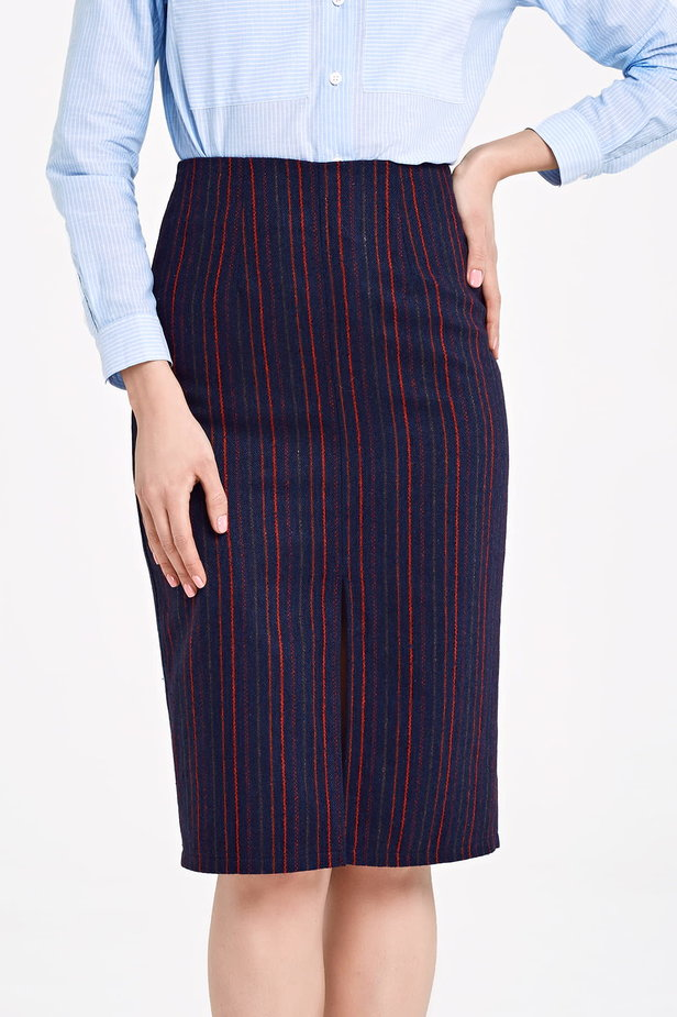 Below the knee dark blue pencil skirt with red stripes photo 1 - MustHave online store