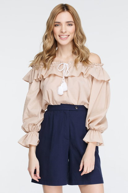 Beige Top with Flounces