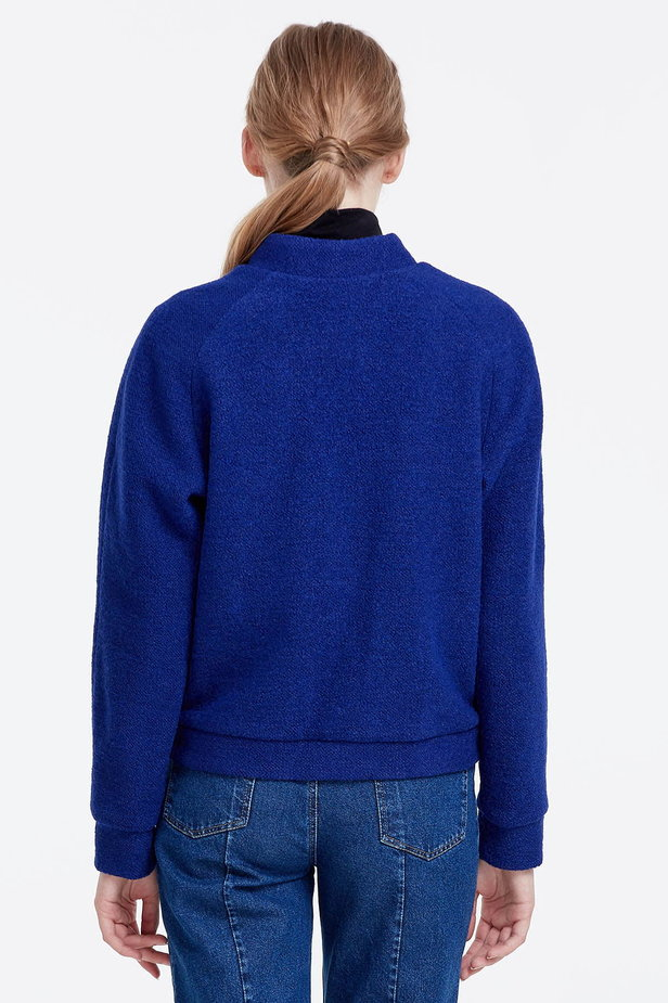 Blue jacket with an asymmetrical closing photo 5 - MustHave online store