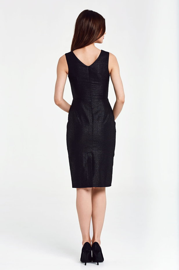 Black dress with lurex above the knee photo 4 - MustHave online store